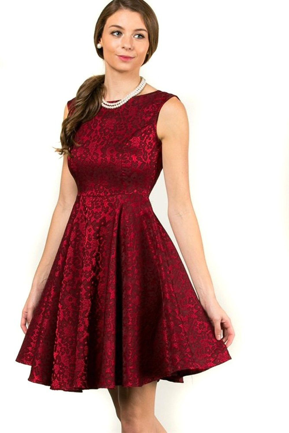 Ruby Red Floral Satin Princess Line Circle Skirt Holiday Cocktail ...