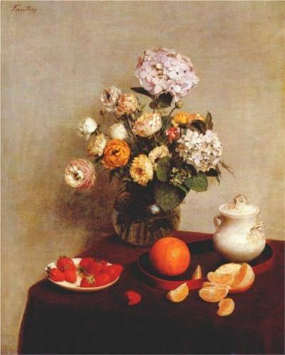 Still+Life+Vase+Of+Hydrangeas+And+Ranunculus+-+Henri+Fantin-Latour