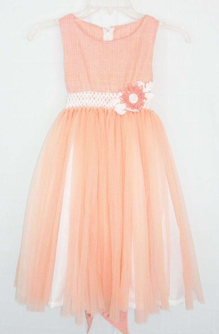 Peach Flower Girl Dress Like The Fabric Mix Of Peach And White At