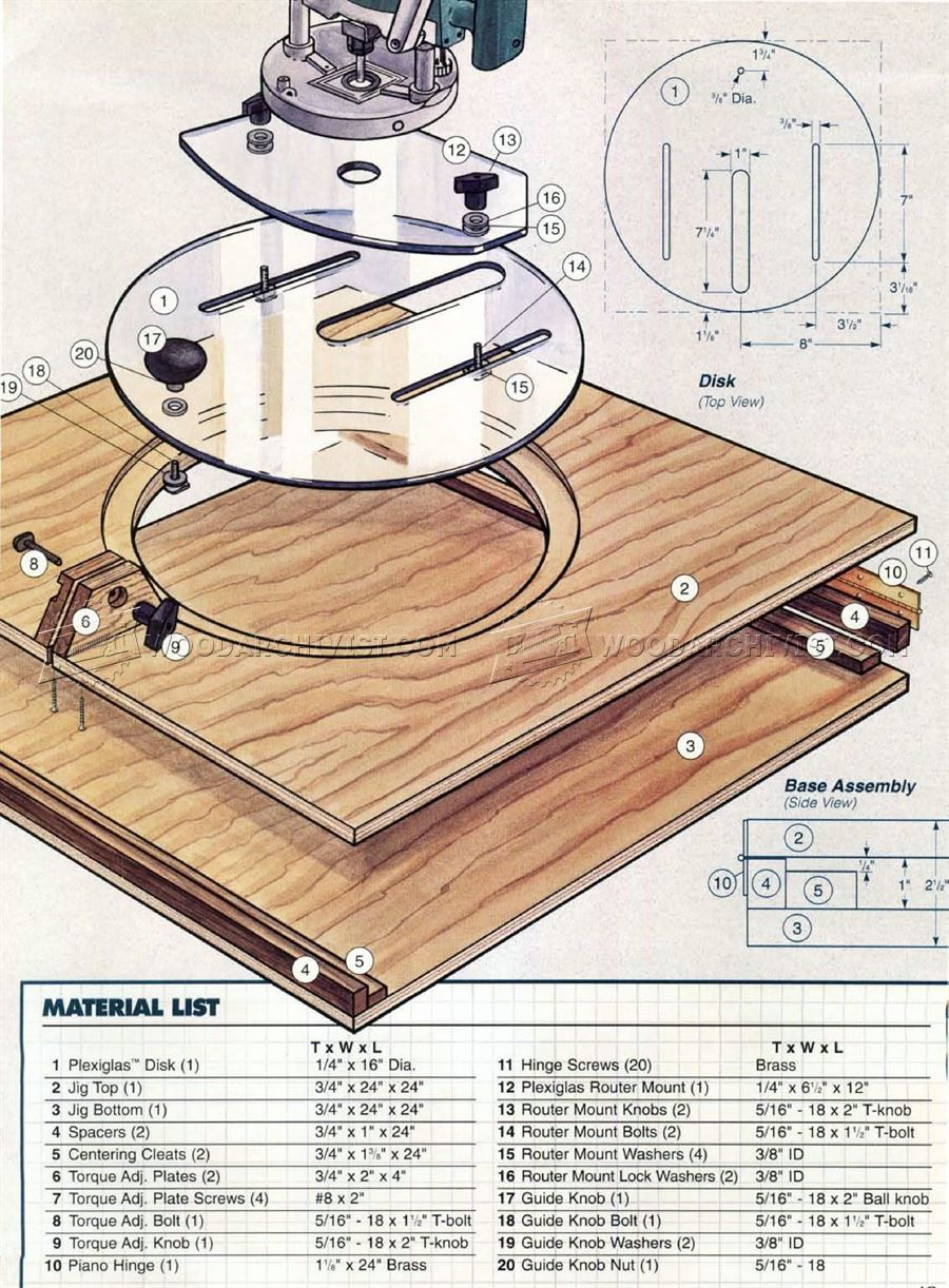 2346 Router Circle Cutting Jig Plans Router Narzedzia Router