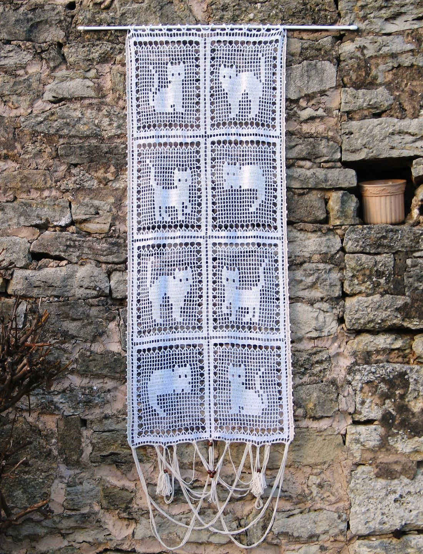 Rideau De Porte Au Crochet Fait Main A Motifs Chats