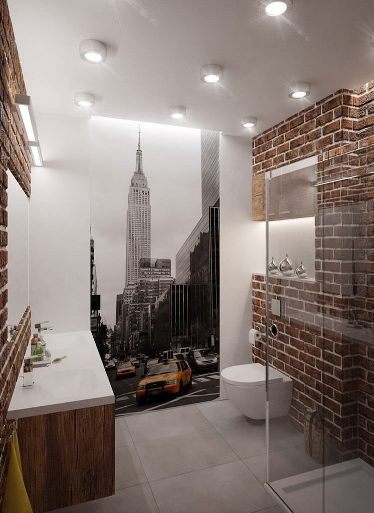 Badezimmer Im Loft Stil Mit New York Fototapete Kleines Bad Einrichten Bad Einrichten Fototapete