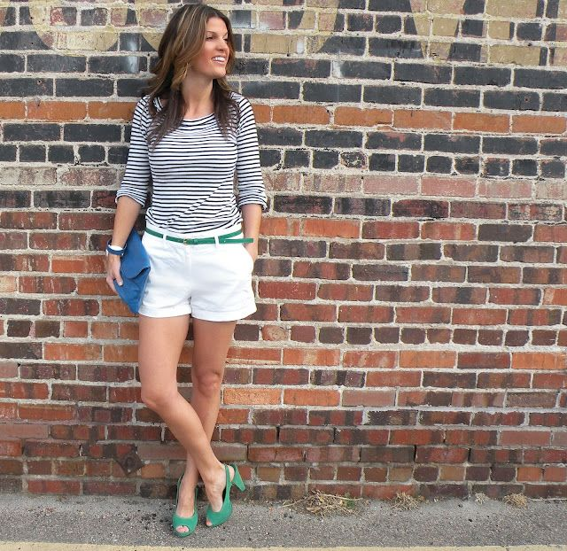 White Shorts + Striped Top + Green Shoes (Spring look!)  http://marionberrystyle.blogspot.com/