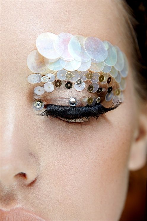 Sequined eyes to create a fish scale effect for a fun for Fish eye skin