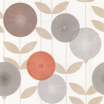Monroe Wallpaper Orange / Brown / Cream Wallpaper