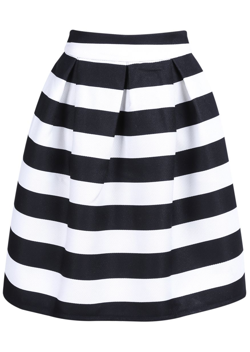 Black Striped Knee Length Skirt | Spotlights | Pinterest | Skirts ...