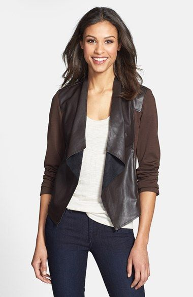 fd843181fd507d KUT from the Kloth  Lincoln  Faux Leather Drape Front Jacket available at   Nordstrom