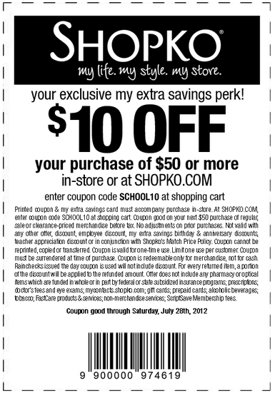 photograph relating to Shopko 20 Off Printable Coupon titled Shopko: $10 off $50 Printable Coupon Couponing Printable