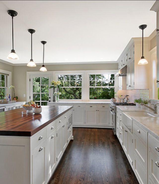 butcher block and granite island - Google Search Kitchens White kitchen inspiration ...