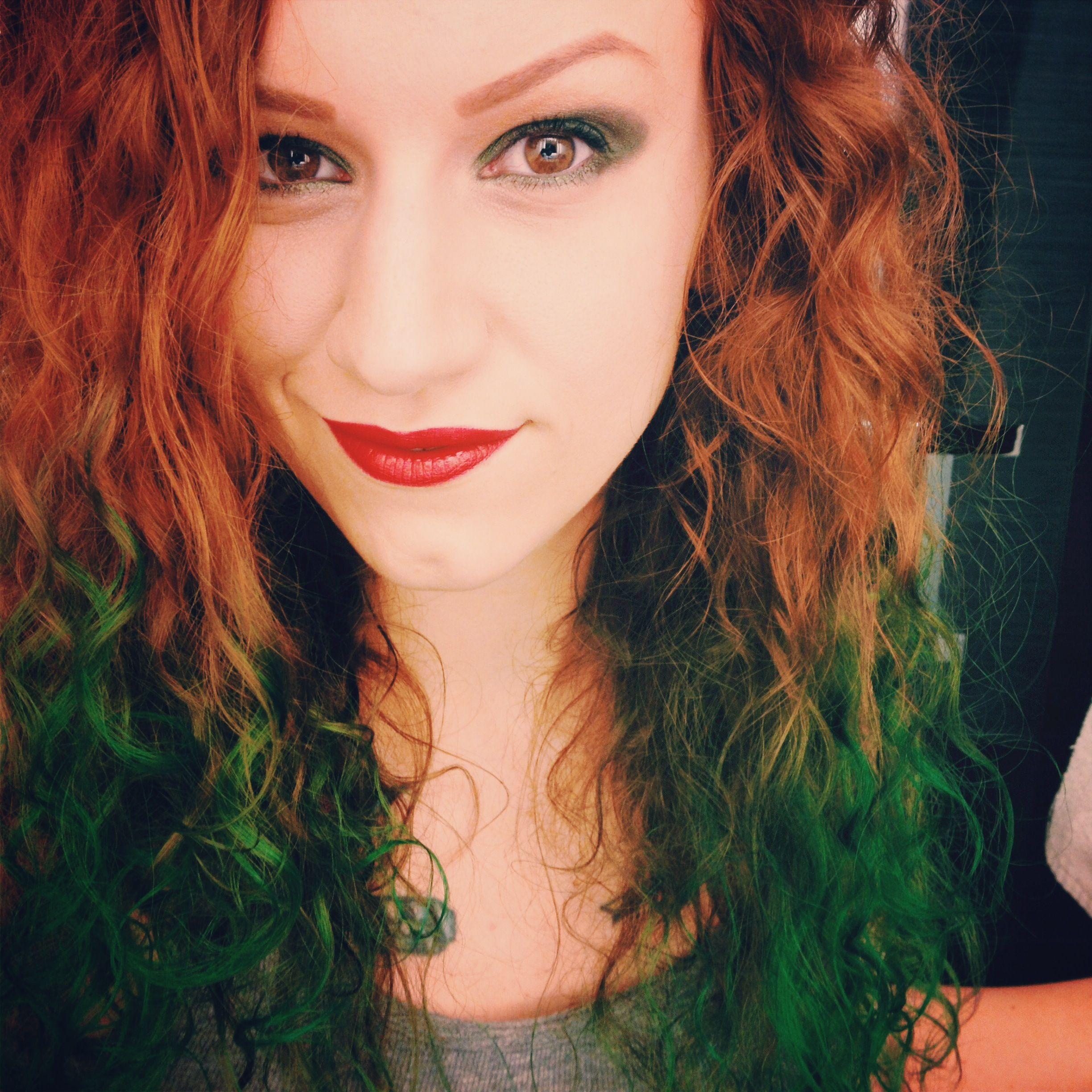 Ginger Red And Emerald Green Hair Emerald Green Hair Green Hair Colors Green Hair