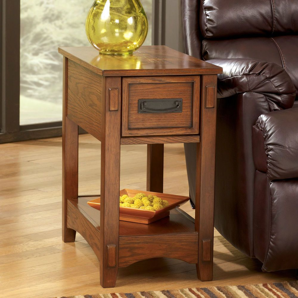 chair side end table rectangular wood drawers furniture