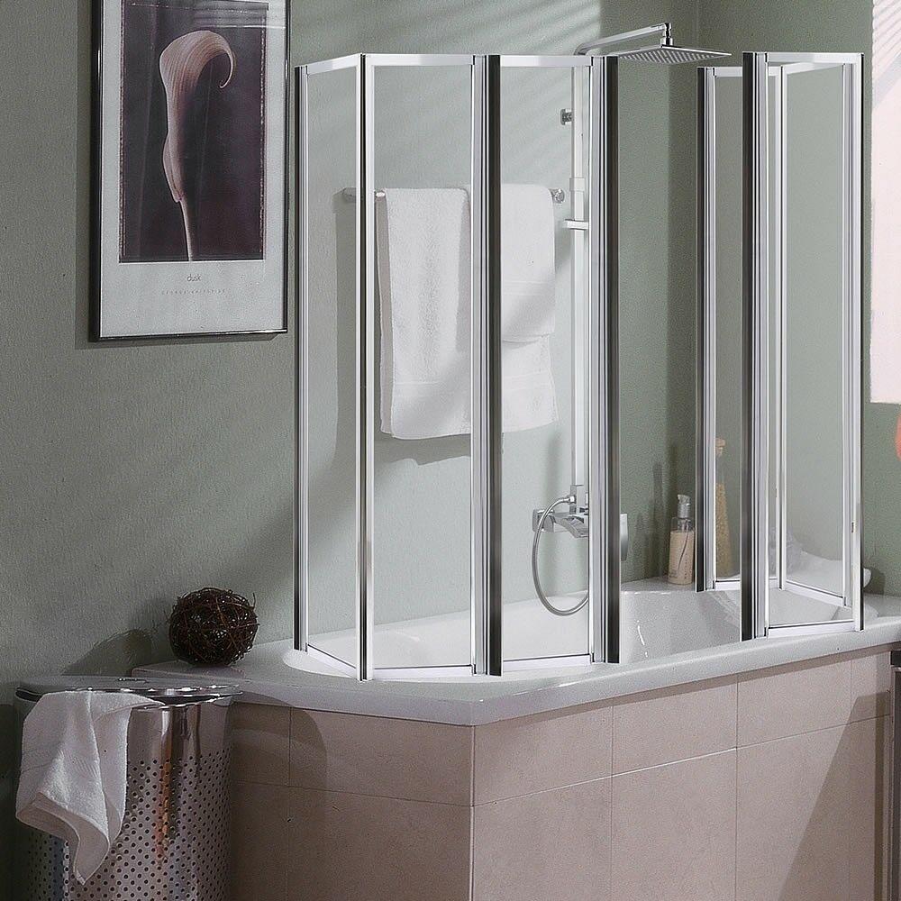 2x 3teilige Glas Duschabtrennung Badewannenaufsatz Badewannenfaltwand Duschwand Duschwand Duschabtrennung Dusche