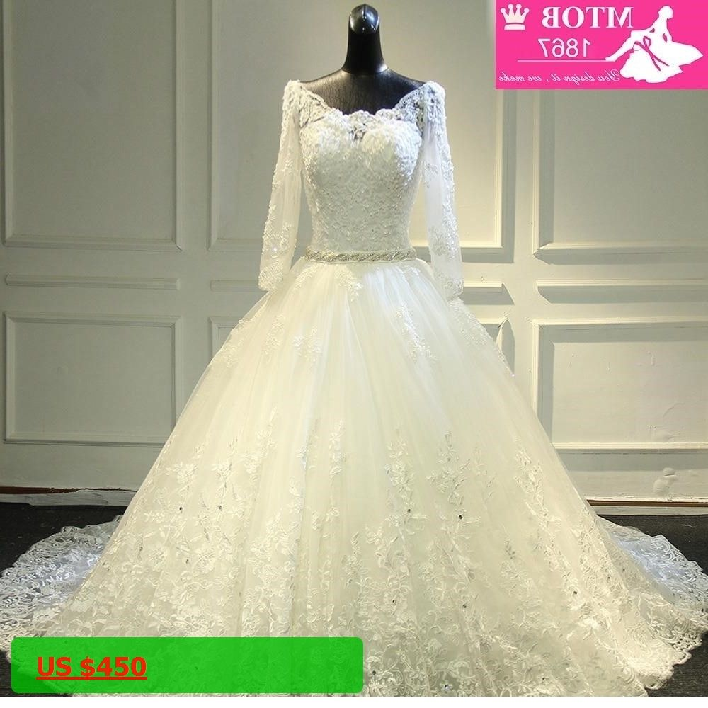Gorgeous long cathedral train thick lace wedding dress full sleeves