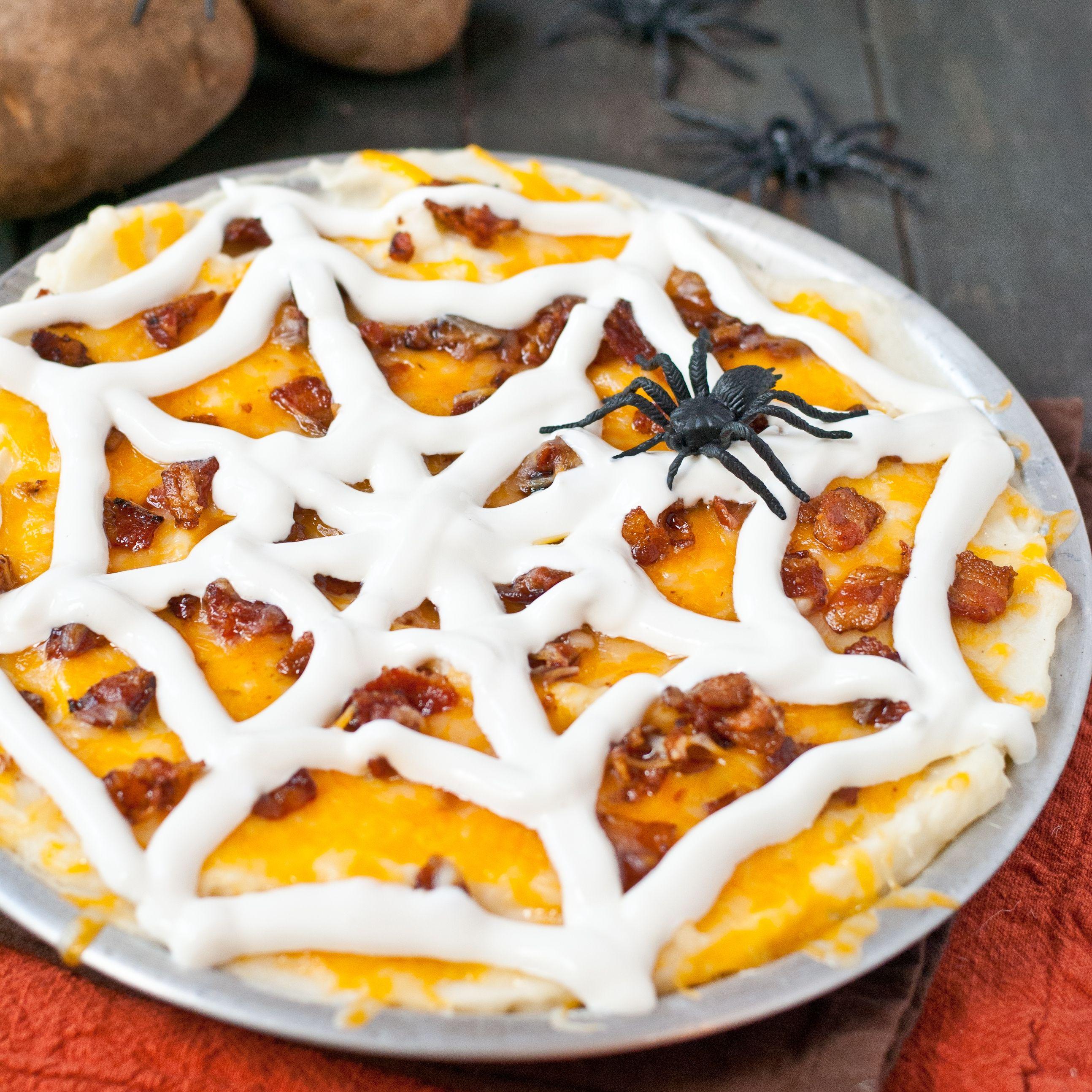 Loaded Mashed Idaho® Potato Spider Web Casserole Recipe