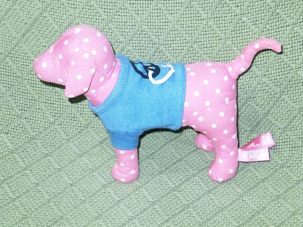 Victoria S Secret Pink Dog Plush Stuffed Polka Dot Peace Love