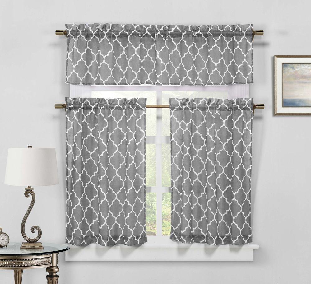 Moroccan Geometric Kitchen Window Curtain Tier & Valance Swag Set - Gray