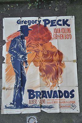 BRAVADOS ANCIENNE AFFICHE CINEMA WESTERN 120 x 160 ANNEE 1958