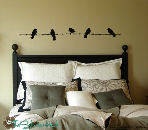 Birds on Barbed Wire Fence - Vinyl Lettering - Home Decor ...