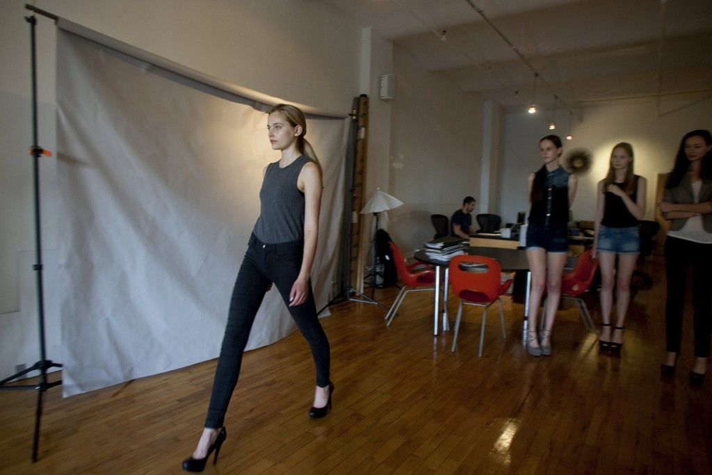 Claire Birkholz walking at New York Models' walking session.