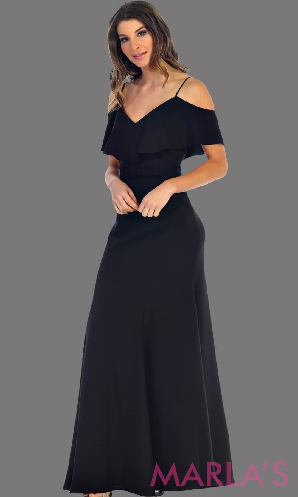 8d349f3306e Long Black flowy dress with cold shoulder. This dress has an empire waist  line and. Visit. January 2019