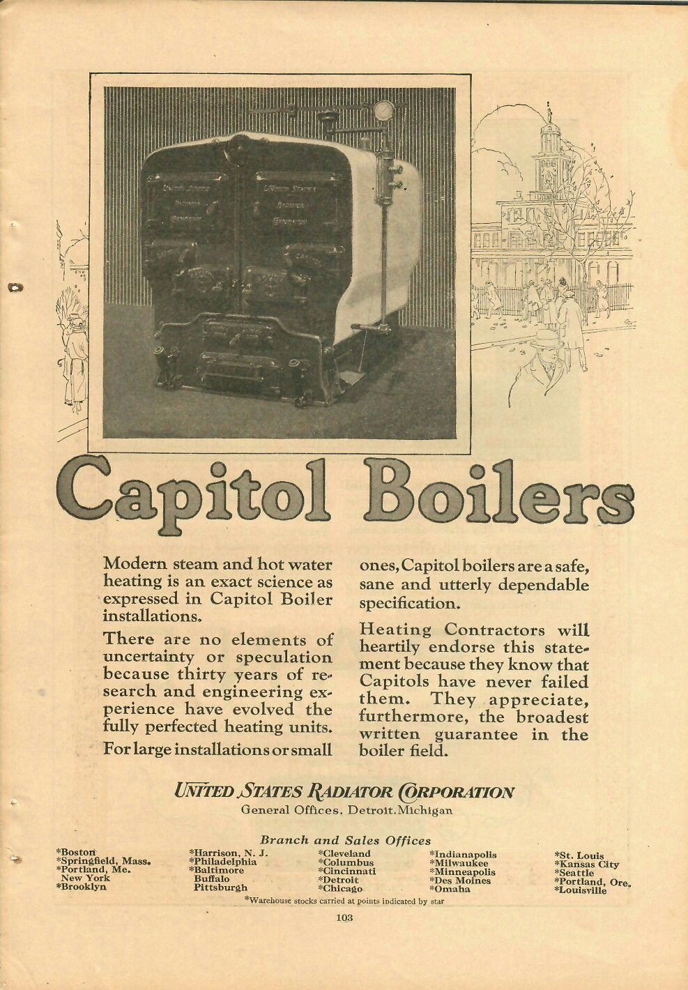 VINTAGE ADS CAPITOL BOILERS AND CRANE PLUMBING SUPPLIES 1923 $9.99 ...