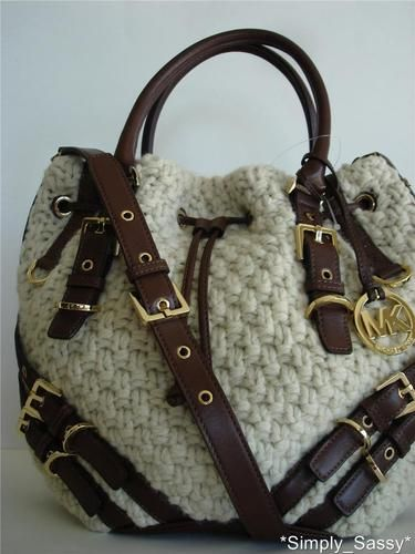 6383d56ba1a8 Drooling!!!!! New Michael Kors MILO BAG Large Cream Wool/Knit ...