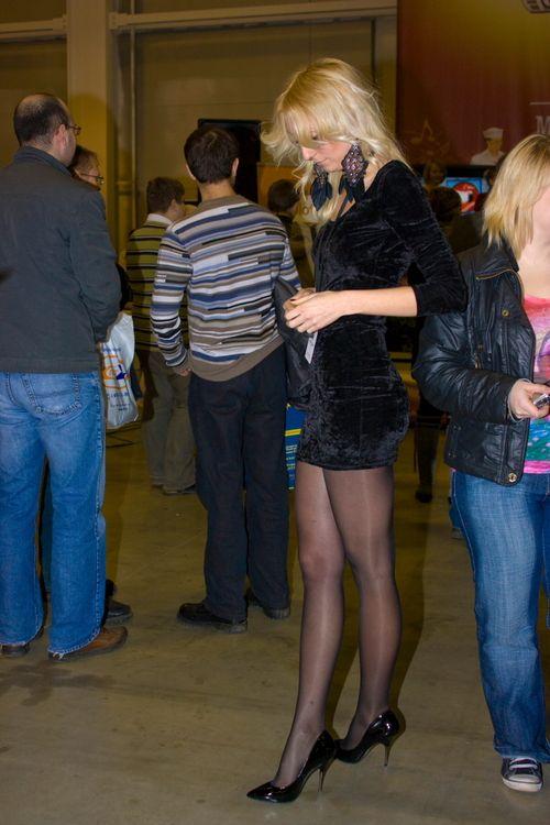 Long legs in sheer pantyhose