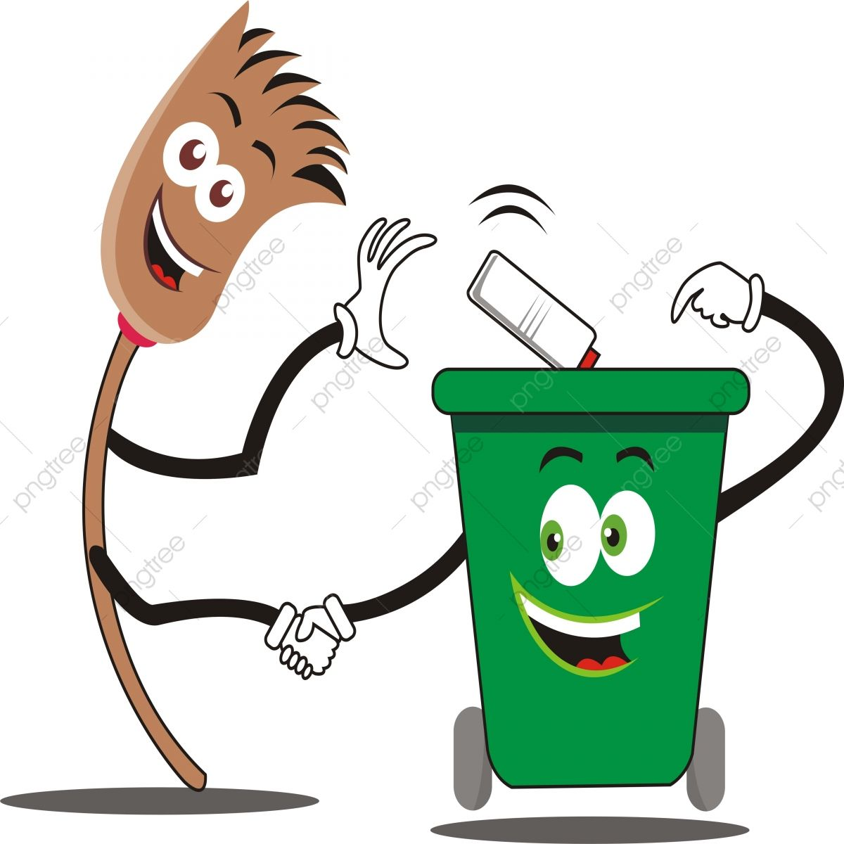 Friendship Brooms And Trash Cans Vector Illustration Can Trash Garbage Png And Vector With Transparent Background For Free Download Free Hand Drawing Poster Drawing Save Water Poster Drawing