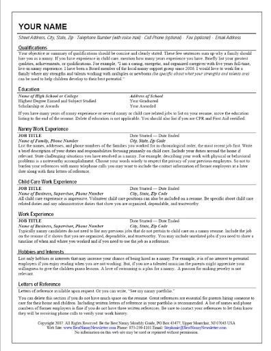 The Standout Nanny Resume  Sample Resume And Nanny Jobs
