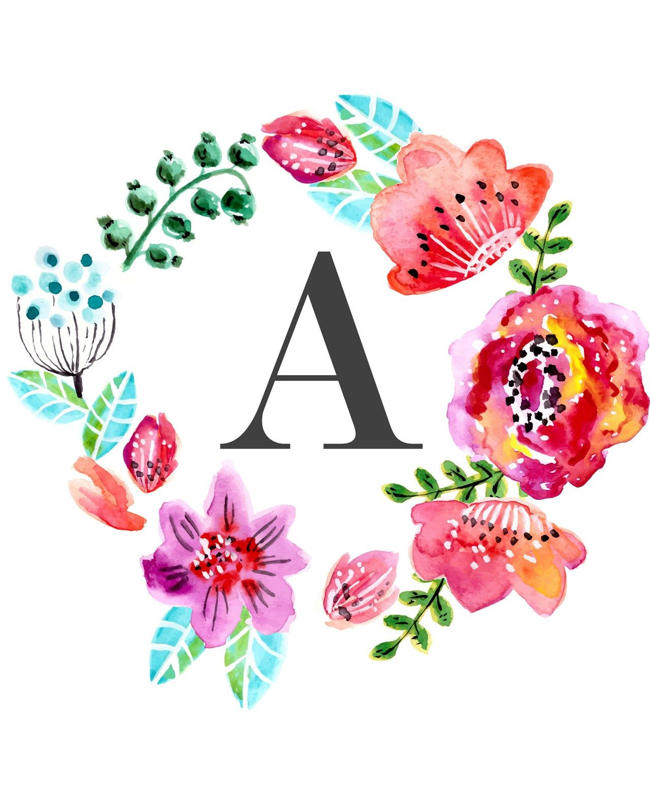 Custom Floral Monogram Wall Art   Free Nursery Printables For Girls Nursery  Decor Inspiration Or For