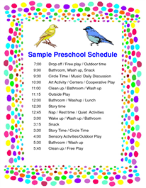 Schedule Preschool Sample  Pdf  DaycareMiscellaneous