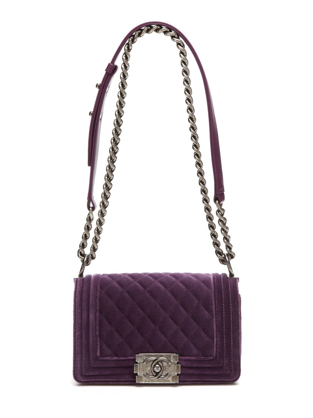 5a00c8bc3d0403 Purple Quilted Velvet Small Boy Shoulder Chain Bag by Chanel at Gilt ...