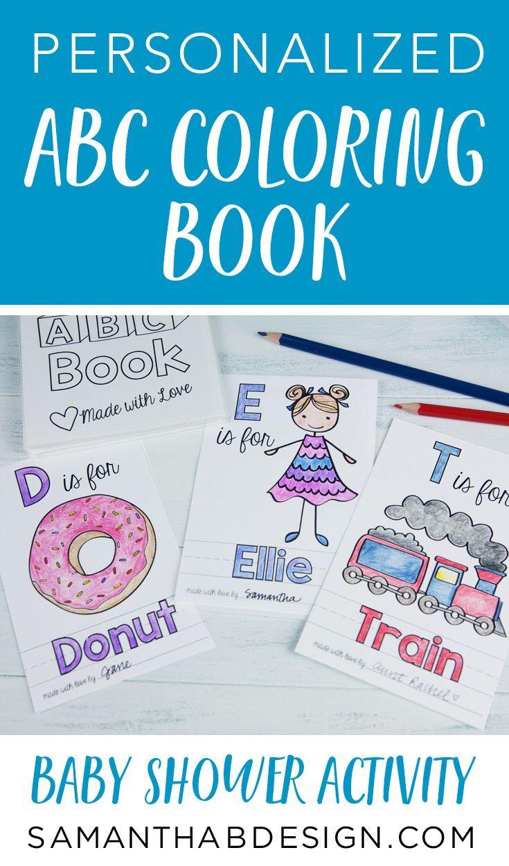 Alphabet Baby Shower Book Custom Coloring Books Baby Shower