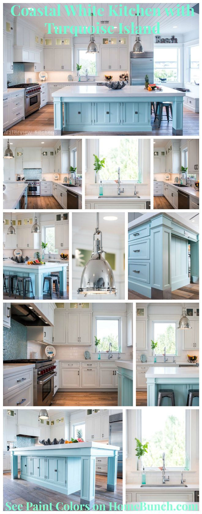 Coastal White Kitchen with Turquoise Island. Beautiful, cheerful and ...
