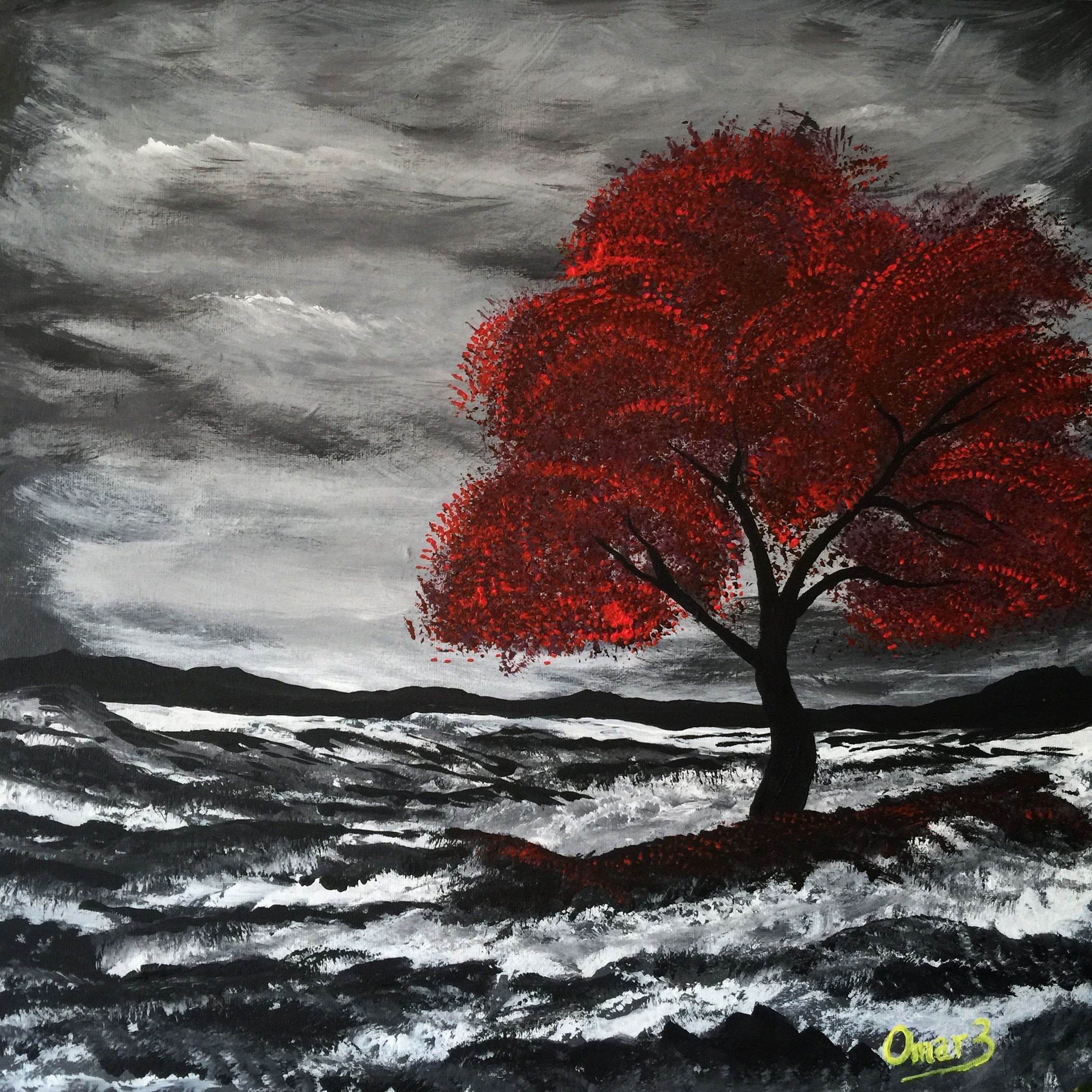 Acrylic Painting Red Tree Waves Black And White Red Paintings Canvas Tree Painting Canvas Red Painting