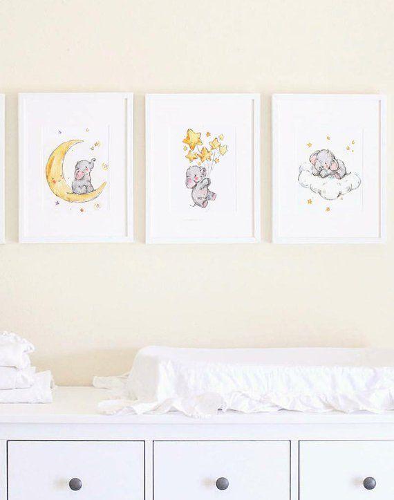 Elephant Nursery Art Baby Prints Stars Print Kids Wall Decor