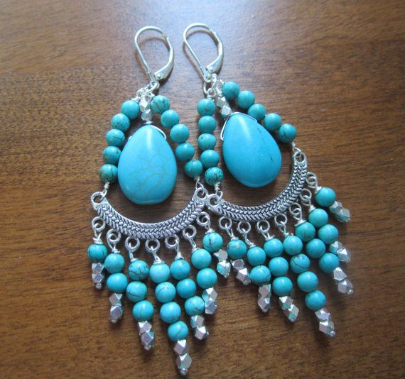 Turquoise Earrings Chandelier Style Silver Under by LeanneDesigns, $28.00