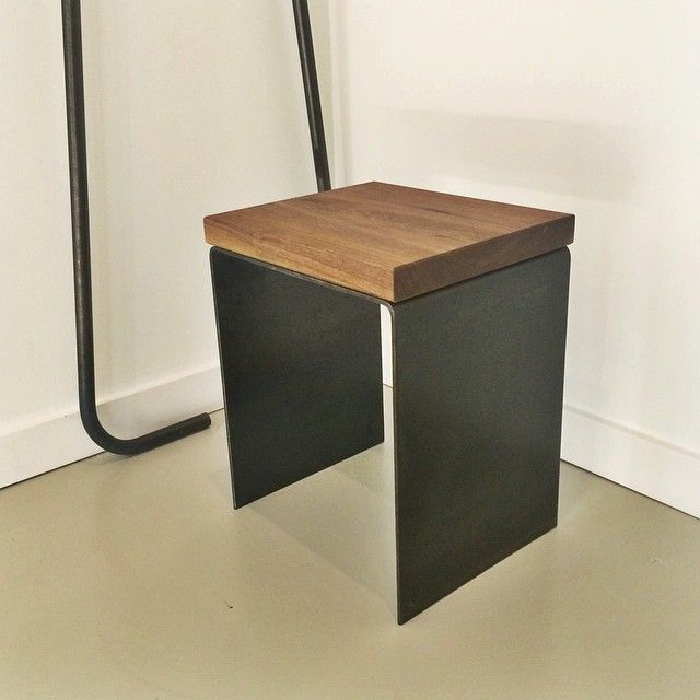 Had to find a use for some of these scrap walnut pieces. Stool prototype (not sample). #steel #walnut #leftoverwood