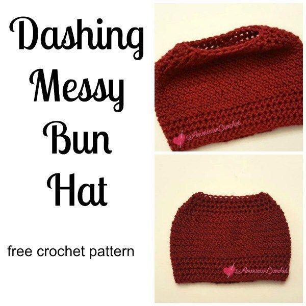 Messy Bun Hat Phenomenon - 10 Free crochet patterns   CraftCoalition ...