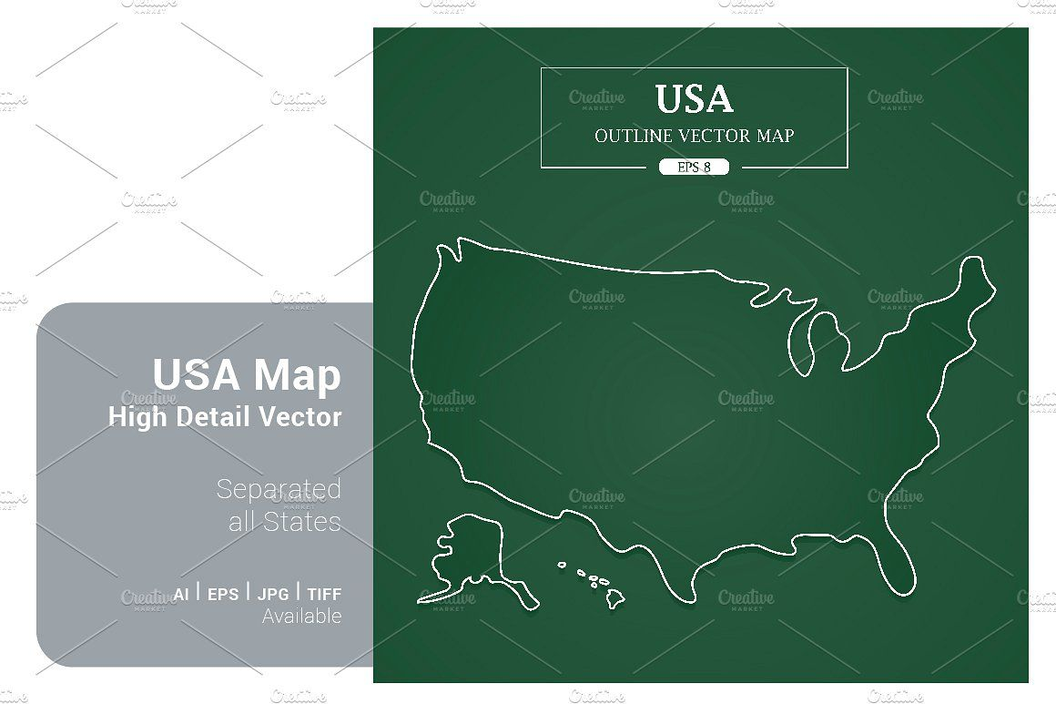 USA Map Separated States Vector USA Map
