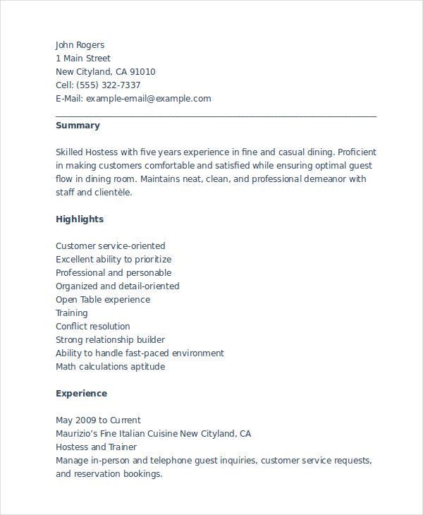 Resume Examples Hostess Resume examples, Restaurant hostess and