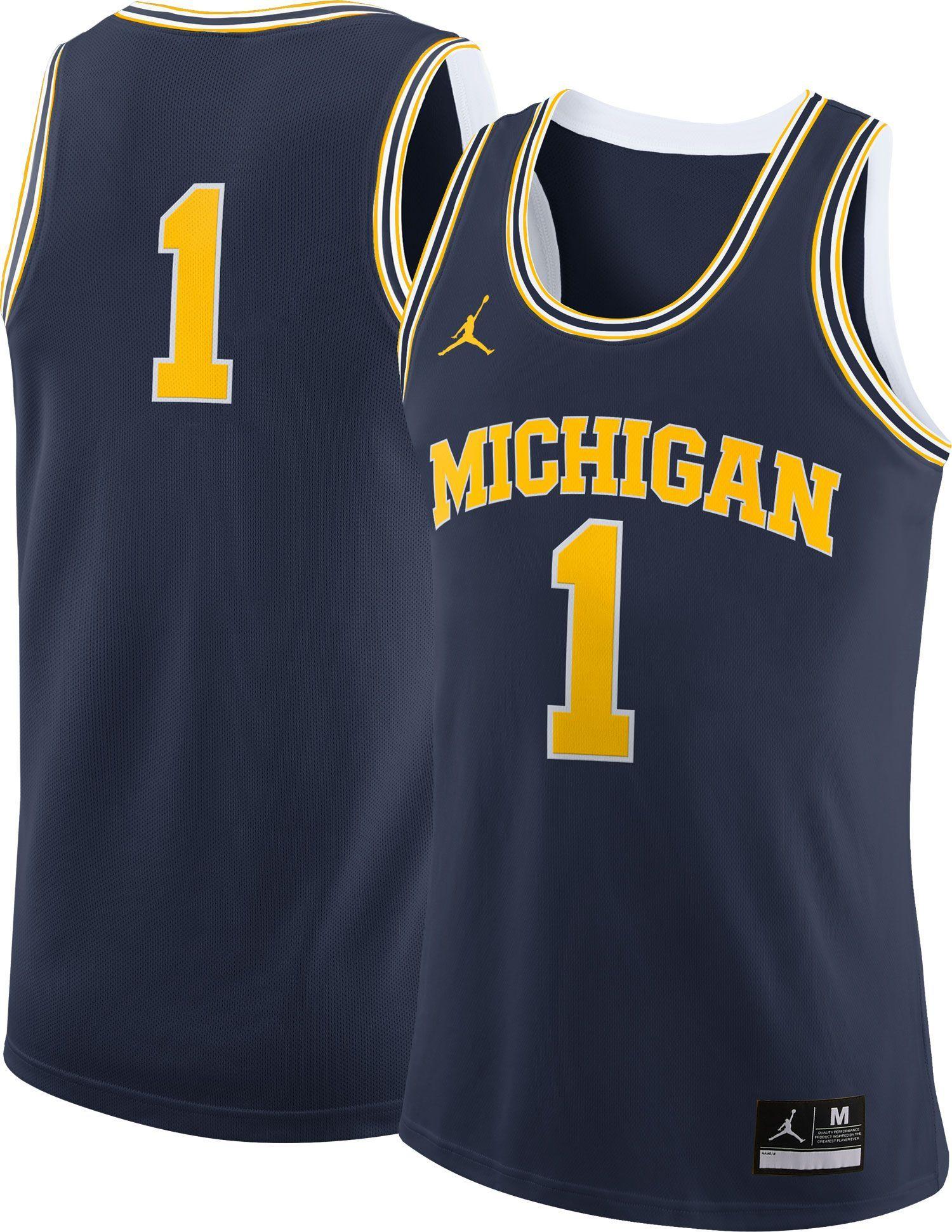 688fdc289d2 Jordan Men's Michigan Wolverines #1 Blue Replica Basketball Jersey ...