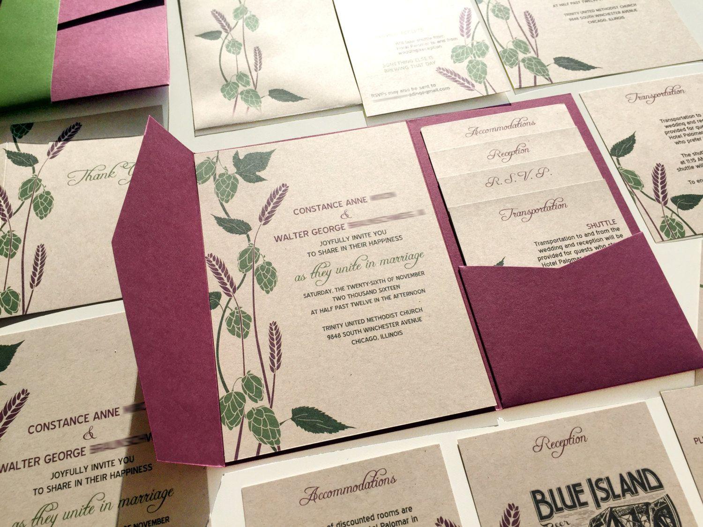 Hops and Barley Wedding Invitation, Rustic Brewery Wedding Invite ...