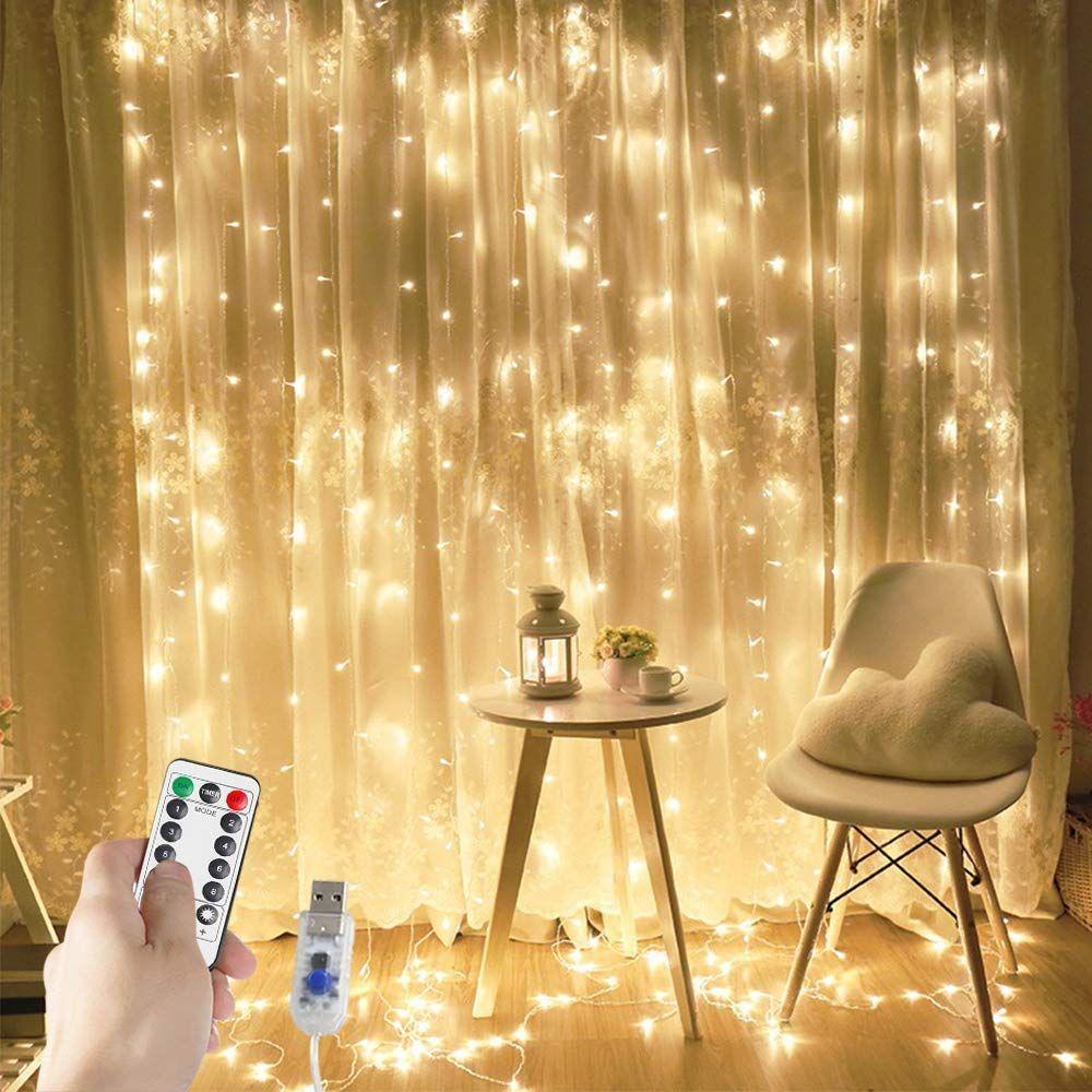 300 led curtain lights string fairy usb