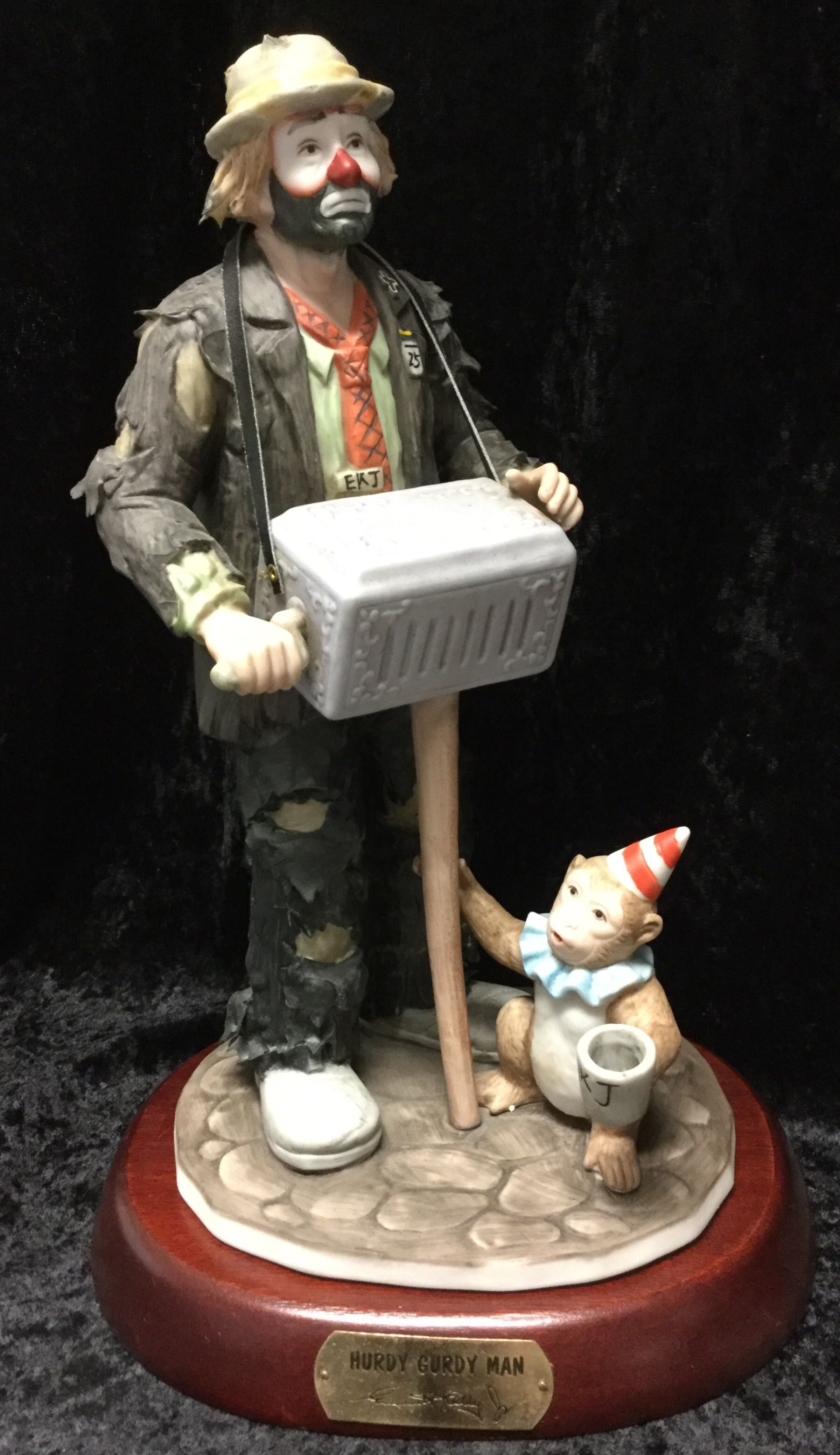 5a0b5fb4f6b92 Flambro Emmett Kelly Jr Clown Hurdy Gurdy Man Figurine & Base W/Box ...