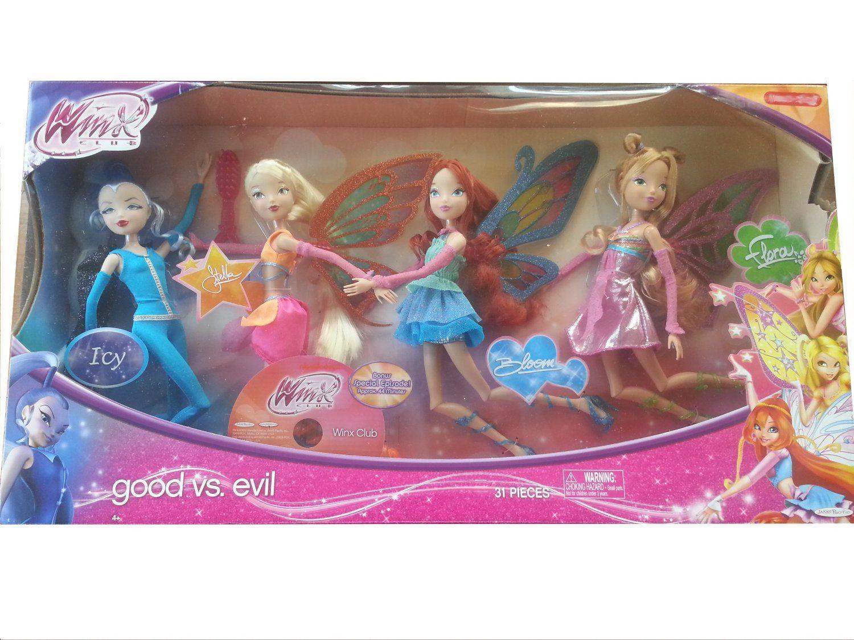 "Amazon.com: Winx Club Good vs Evil 4 Pack Icy Bloom Stella Flora 11.5"" Enchantix Dolls: Toys & Games"