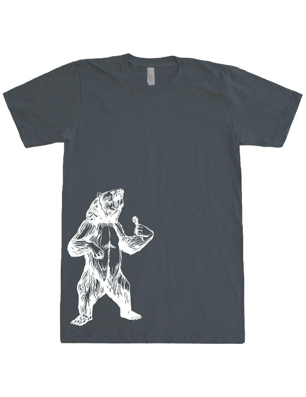 Bear Trying To Sing T-Shirt. Men / Unisex Fine Jersey Short Sleeve Tee. Side White Print