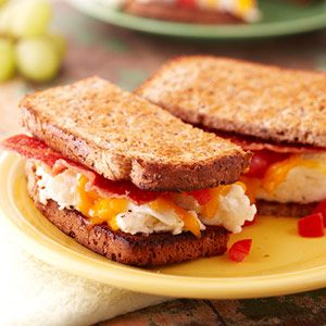 Egg Sandwich...use egg substitute, then make it grilled.  Kind of like a grilled cheese sandwich, only for breakfast.