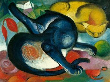 Zwei Katzen, blau und gelb  by Franz Marc