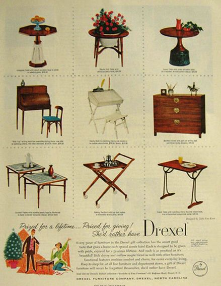 Original vintage magazine ad for the Drexel Gift Collection. Mod Furniture  ... - Drexel Furniture Ad 1957 1957 Pinterest Furniture, Ads And Php
